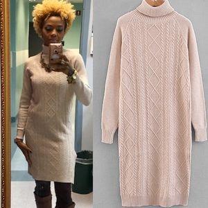🆕Soft &Classy high neck long sleeve sweater dress